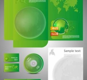 Vector Green Card Template 05 Vector Art