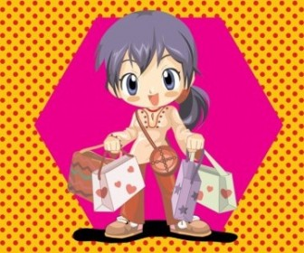 Vector Anime Shopping Girl People Vector Art