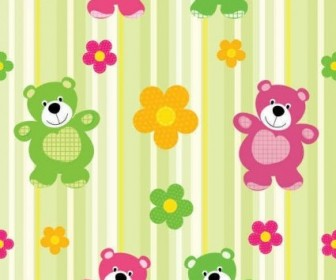 Vector Cartoon Bear Pattern Background Vector Art
