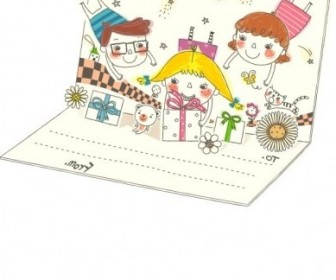 Vector Korea Cute Line Drawing 1 Family Vector Art