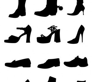 Vector Shoe Silhouettes Vector Graphics