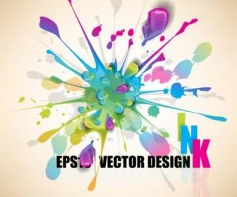 Vector Color Paint Splashes 04 Background Vector Art