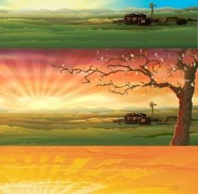 Vector Countryside Scenery Vector Art