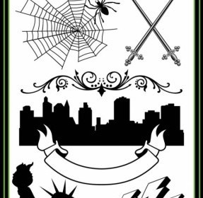 Vector Sword Spiders Urban Silhouette Lightning The Statue Of Liberty And Other Pattern Vector Art