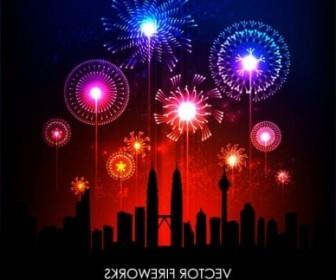 Vector Festive Fireworks 02 Vector Art