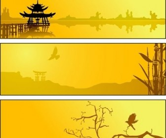 Vector Summer Lake Scenery Silhouette Silhouettes Vector Graphics