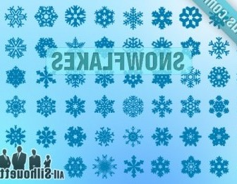 Vector Snowflakes Silhouettes Vector Graphics