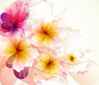 Vector Romantic Background 02 Flower Vector Art
