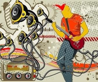 Vector Cool Music Theme Vector Art