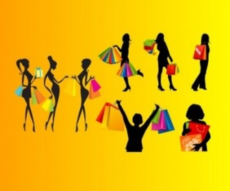 Vector Shopping Female Silhouette Silhouettes Vector Graphics