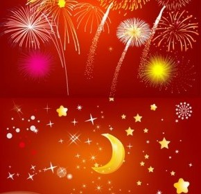 Vector Fireworks Rain Earth Moon And Star Vector Art