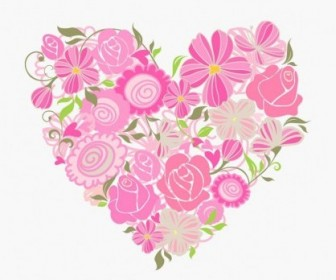 Vector Pink Heart Graphic Floral Vector Art
