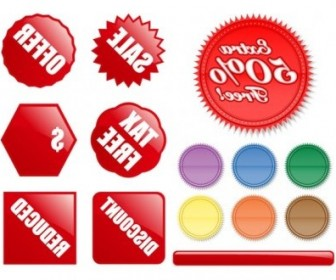 Vector Decorative Buttons Of Various Shapes And Label Vector Art
