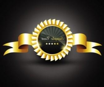 Vector Gold Badge Labels 05 Vector Art