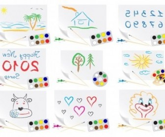 Vector Cute Children Drawings Theme Vector Art