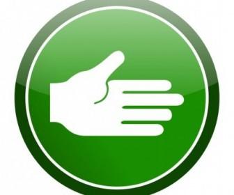 Vector Green Cirlce Hand Icon Vector Clip Art