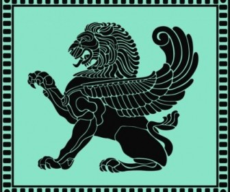Vector Ancient Lion Shield Vector Art