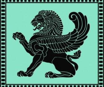 Vector Ancient Lion Shield Vector Art