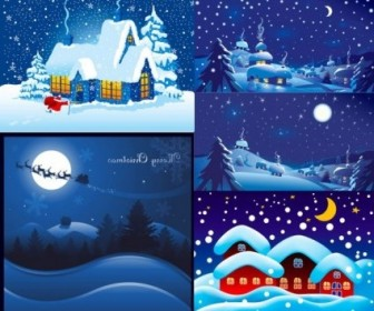 Vector Night Christmas Vector Graphics