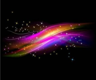 Vector Abstract Glowing Light With Stars Background Vector Art