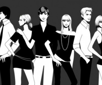 Vector Black White Photographs Of Men And Women Fashion People Vector Art