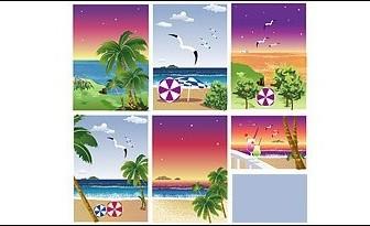 Vector Seascape With Coconut Tree Landscape Vector Graphics