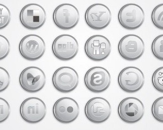 Vector Silver Social Media Pack Icon Vector Graphics