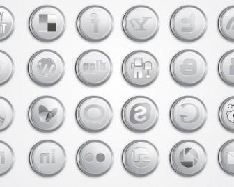 Vector Silver Social Media Pack Icon Vector Graphics