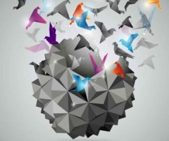Vector Threedimensional Paper Cranes Background Vector Art
