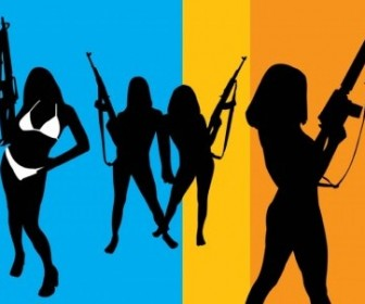 Vector Girls With Guns People Vector Art