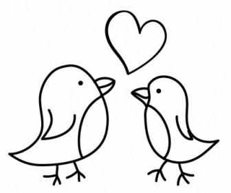 Vector Two Birds Sketch With A Love Heart Vector Art