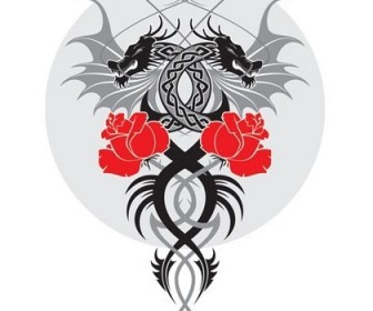 Vector Dragon And The Rose Vector Art