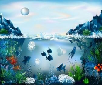 Vector Magnificent Underwater World 03 Vector Art
