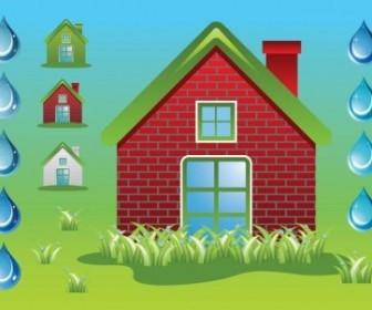 Vector Green Home Ecology Vector Art