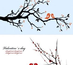 Vector A Pair Of Birds On Branches Vector Art
