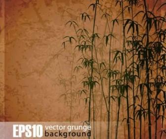 Vector Retro Bamboo Forest Background Vector Art