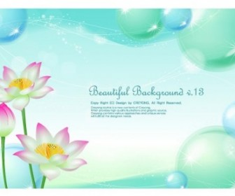 Vector Lotus And Water Bubbles Background Vector Art