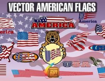 Vector American Flags Vector Art