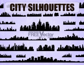 Vector City Silhouettes Vector Graphics
