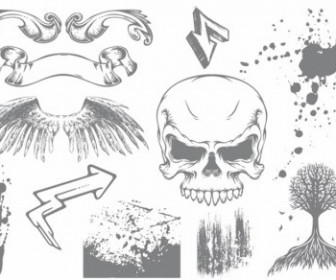 Vector Skull & Wings Grunge Pack Vector Art
