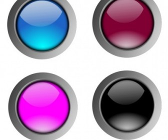 Vector Round Glossy Buttons Vector Clip Art