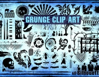 Vector Grunge Clipart Silhouettes Vector Graphics