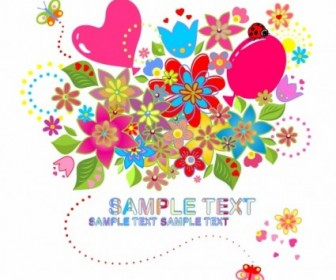 Vector Flowers And Butterfly Flower Vector Art