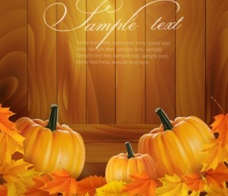 Vector Realistic Pumpkin Card 01 Nature Vector Graphics