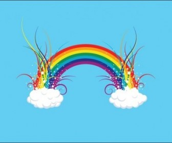 Vector Rainbow In The Clouds Vector Art