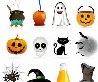 Vector Halloween Design Element Set Icon Vector Graphics
