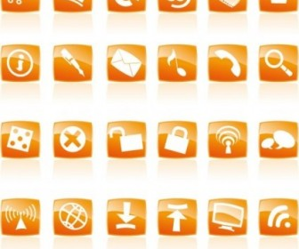 Vector Orange Crystal Style Commonly Used Web Icon Vector Graphics