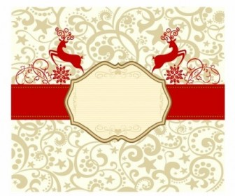 Vector Retro Reindeer Banner Vector Art