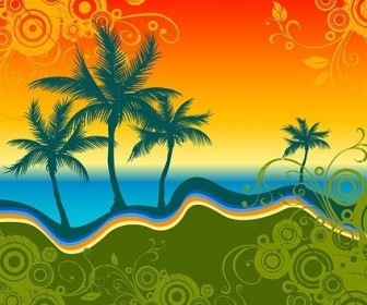 Vector Palm Beach Silhouette With Trend Pattern Vector Art