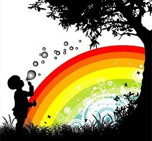 Vector People Trees Flowers And Rainbow Silhouette Flower Vector Art